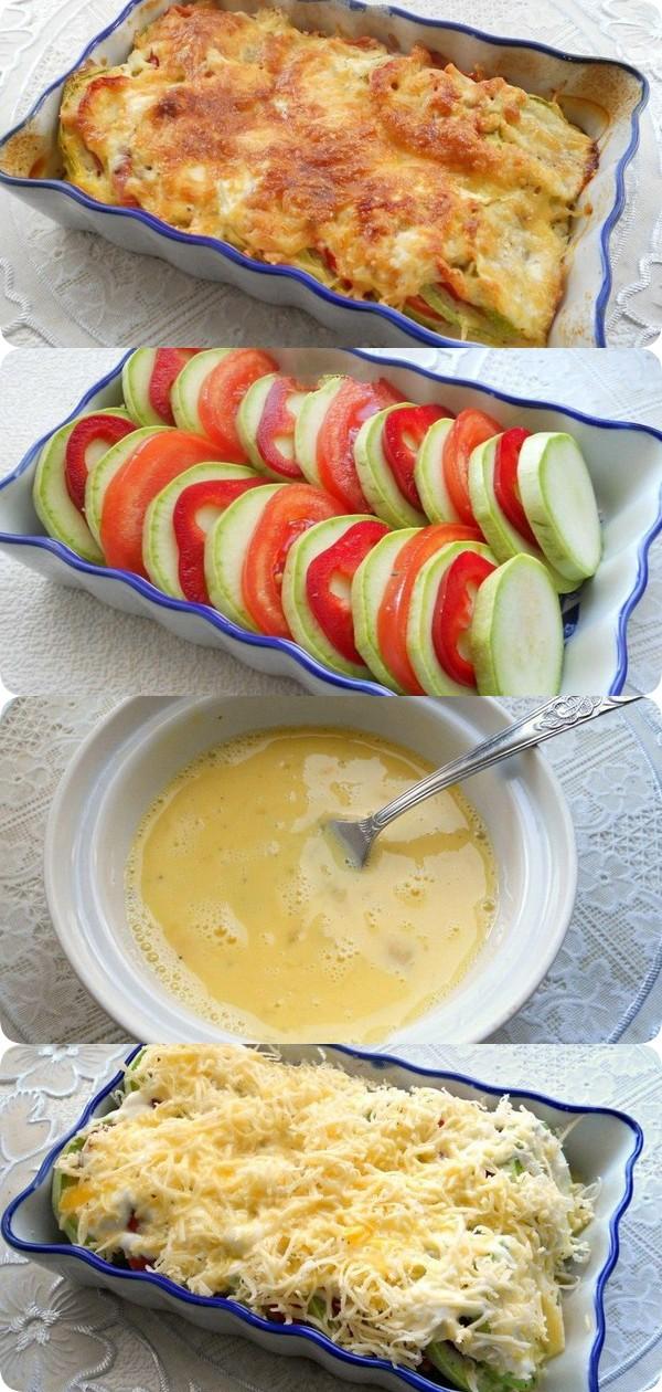 Кабачки запеченные с помидорами и сыром