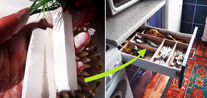 В моем ящике со столовыми приборами всегда хранится кусочек мела! Регулярно спасает от лишних трат.