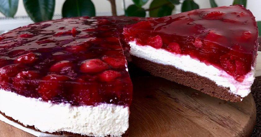 Нежный творожно-вишневый торт без выпечки. Осилит каждая хозяйка.