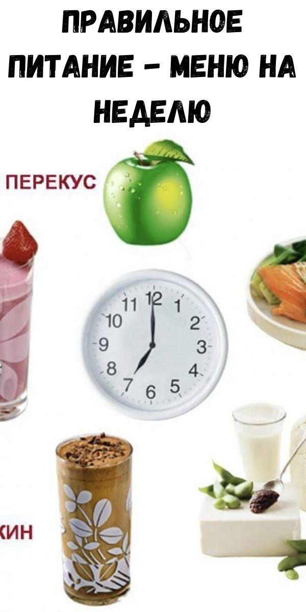 Правильное питание - меню на неделю