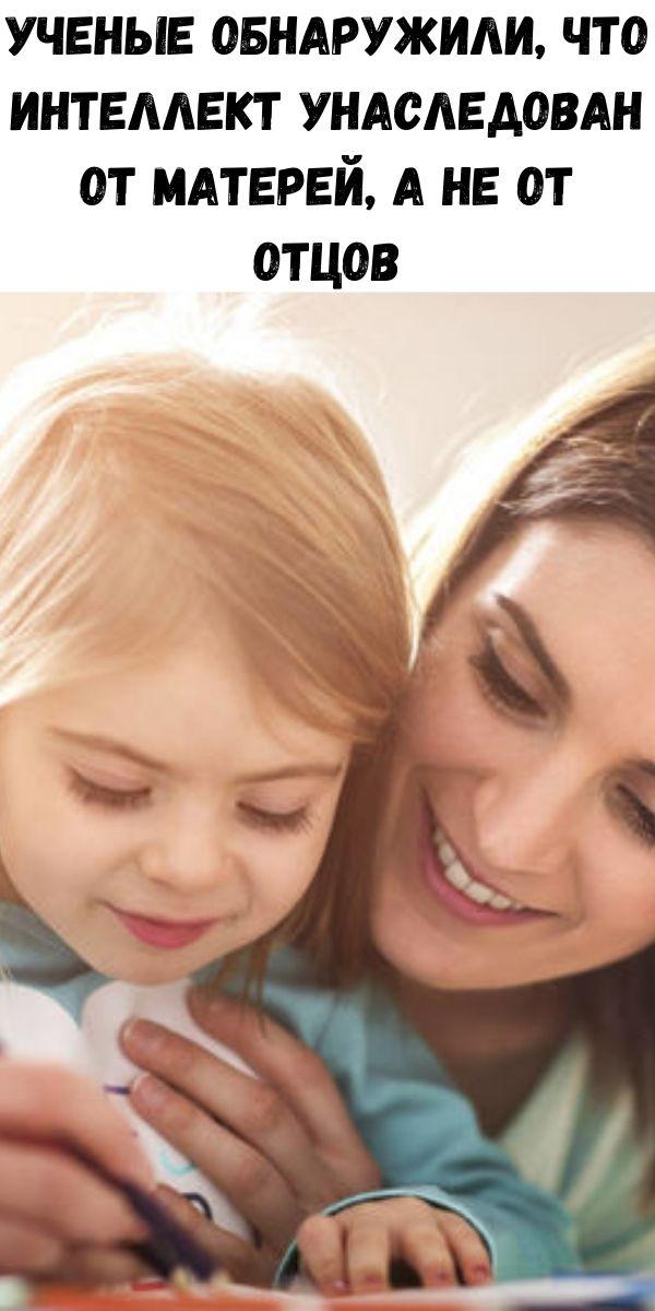 Ученые обнаружили, что интеллект унаследован от матерей, а не от отцов